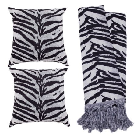 Kit Manta Rústica e Capa de Almofada para Sofá Zebra Preto