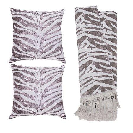 Kit Manta Rústica e Capa de Almofada para Sofá Zebra Cinza