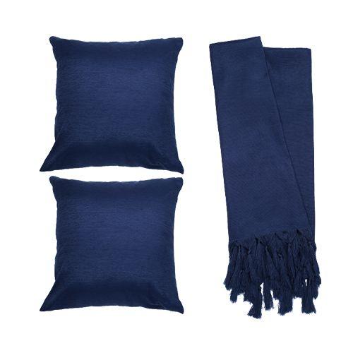 Kit Manta Veludo Liso Azul e Capa de Almofada para Sofá
