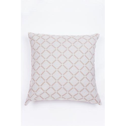 Capa De Almofada Para Sofá Geométrico Mesclado Bege e Branco