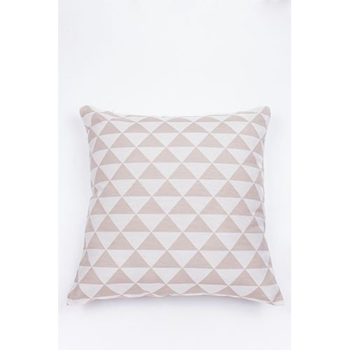 Capa De Almofada Para Sofá Geometria Ornamental Bege e Branco