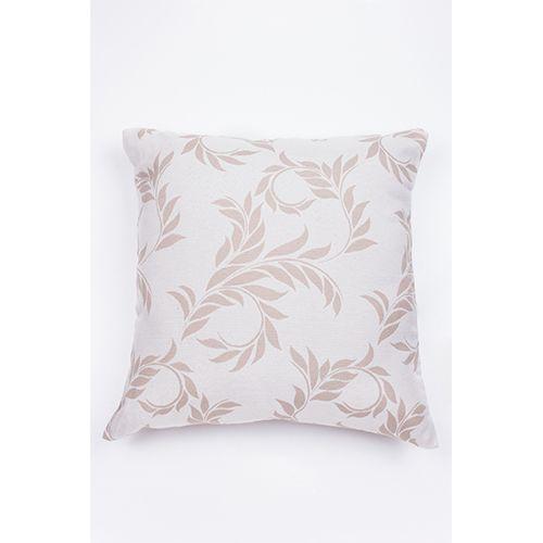 Capa De Almofada Para Sofá Folhas Bege e Branco