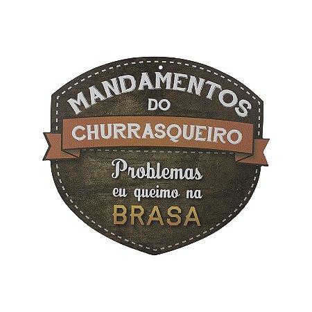 PLACA MANDAMENTOS DO CHURRASQUEIRO HUMOR