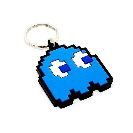 Chaveiro Emborrachado Fantasma Azul - Pac Man