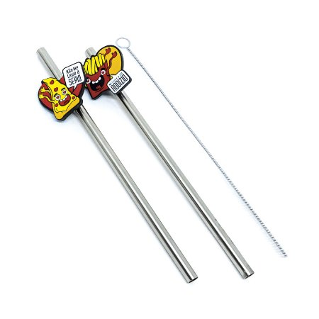 Kit Canudo De Inox  Com Pin De Borracha Fast Food