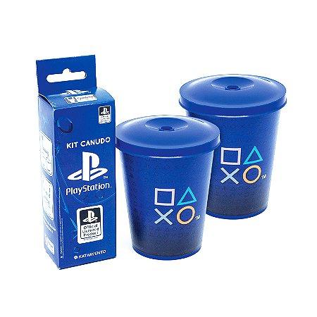 Copo Mini Fun 350Ml Com Canudo Playstation
