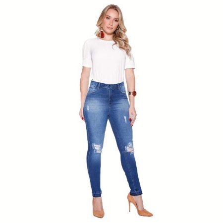 Calça Jeans Skinny com Detalhes e Lavagem Ref: 5056