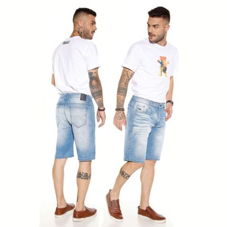Bermuda Masculina Jeans Claro com Lavagens Ref: 10759