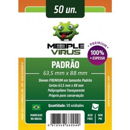 Sleeves Padrão Premium Meeple Virus 63,5 X 88