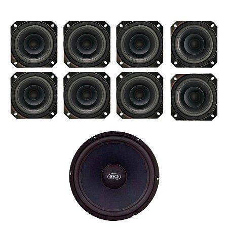 Kit 8 Alto falantes 4MGS80 QVS + 1 Alto falante 15 Sub Grave QVS