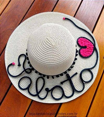 Chapéu Personalizado com o Nome + Coração Rosa
