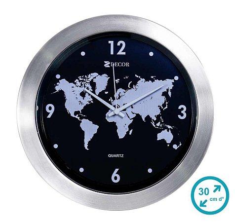 Relógio de Parede Mapa Mundi 30 cm