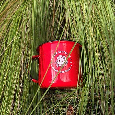 Caneca Esmaltada Dude Coffee Vermelha 300 mL