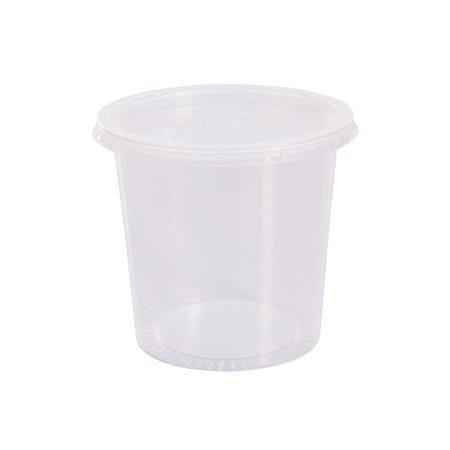 Pote Plástico PP 750 ml Redondo Kit com Tampa para Freezer e Microondas - Orleplast