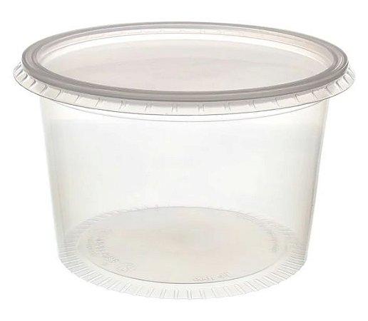 Pote Plástico PP 1000 ml Redondo Kit com Tampa para Freezer e Microondas - Orleplast