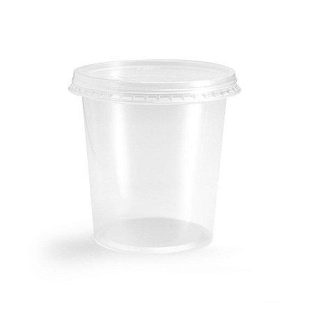 Pote Plástico PP 2000 ml Redondo Kit com Tampa para Freezer e Microondas - Orleplast