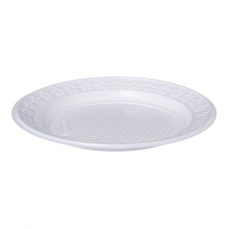 Prato Plástico Descartável 21 cm Branco - Real