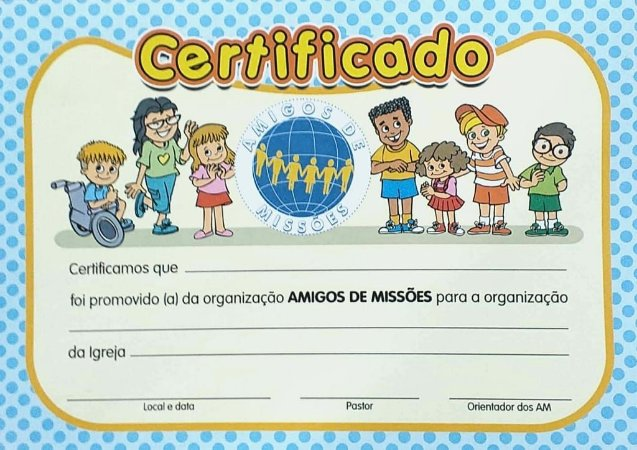 CERTIFICADO AMIGOS DE MISSÕES