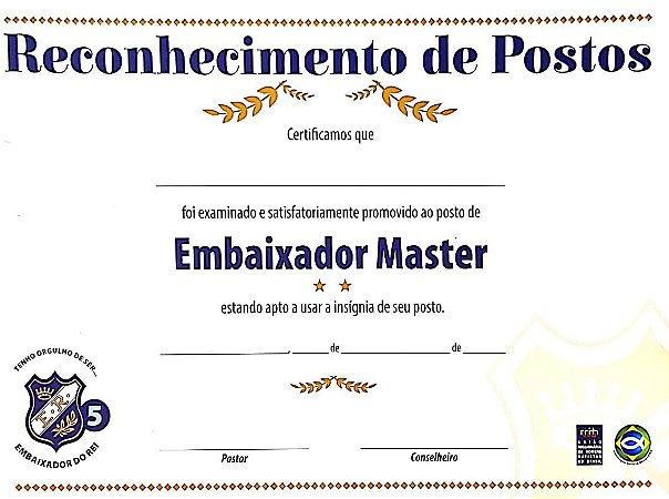 CERTIFICADO DO EMBAIXADOR MASTER