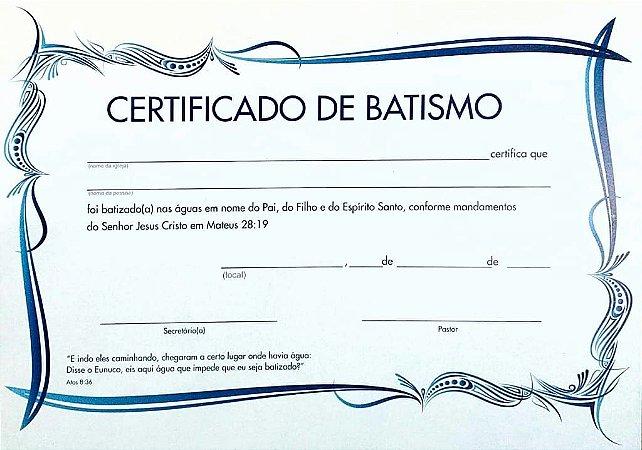 CERTIFICADO DE BATISMO MÉDIO AZUL COM PACTO