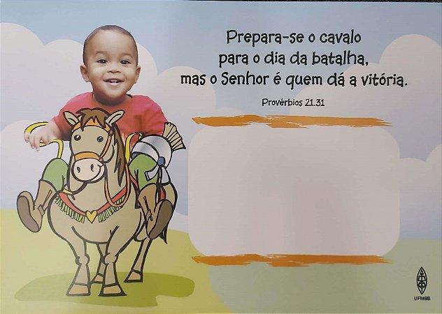 PREPARA-SE O CAVALO PARA O DIA DA BATALHA CARTÃO ROL DE BEBÊS MENINO UFMBB
