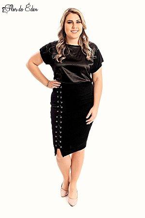 Blusa Plus Size Feminina Em Viscose Com Detalhe Em Cetim