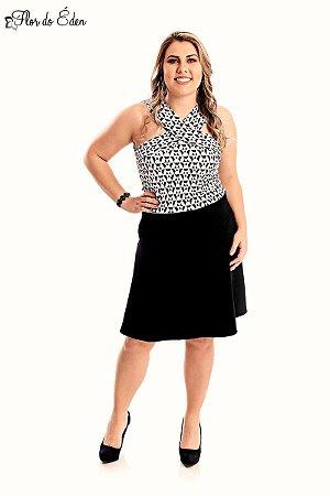 Vestido Plus Size Gode Com Elastano E Detalhe Jacquard Geometrico