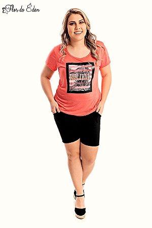 Bermuda Plus Size Feminina Com Bolso E Cos Alto