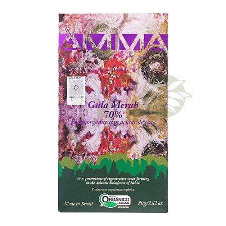 Chocolate Gula Merah 70% Açúcar de Coco Orgânico Amma 80g