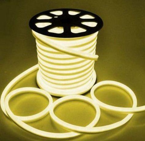 kit 50 Mangueira Fita LED Neon Flexível Luz Branco Quente 3000k - 12w - 220v - IP65 + 5 Conectores + 1 Plafon 25w LED Embutir Quadrado Branco Frio 6000K