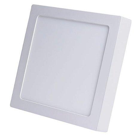 Luminária Plafon 12w LED Sobrepor Quadrado Branco Frio 6000k