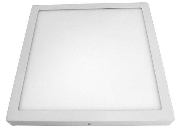 Luminária Plafon 40x40 36w LED Sobrepor Quadrado Branco Quente 3000k