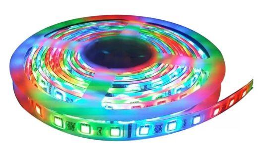 Fita LED - 5050 RGB (Colorida) - Rolo com 5 Metros - 14w  - 60 LEDs por Metro - IP65 (com Silicone) - 12V - com Controle Remoto e Fonte