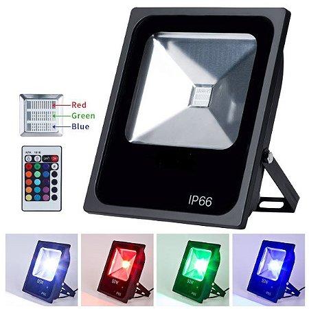 Refletor Holofote LED 50w RGB  Colorido -  com Controle Remoto