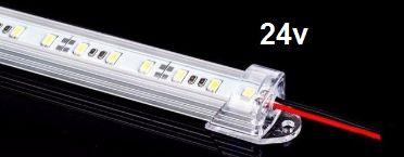 Barra de LED - 1 Metro - 18w - Branco Frio - 24v - 72 LEDs - Calha com Lente Transparente