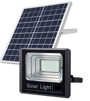 Refletor LED Solar 100W Branco Frio + Placa Solar + Controle Remoto