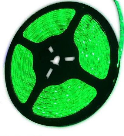 Fita LED - 5050 Verde - Rolo com 5 Metros - 14w  - 60 LEDs por Metro - IP20 (sem Silicone) - 12V