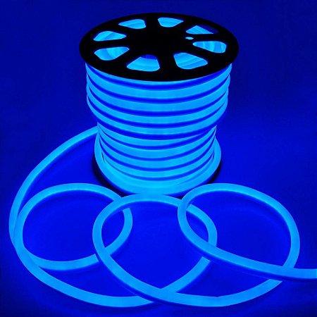 Mangueira Fita LED Neon Flexível Luz Azul - 12w por metro - 127v -  IP67 - Rolo com 100 Metros