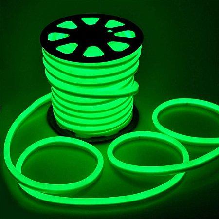Mangueira Fita LED Neon Flexível Luz Verde - 12w por metro - 127v -  IP65 - Rolo com 100 Metros