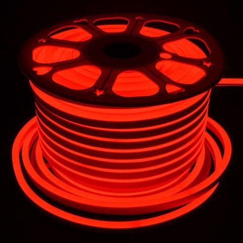 Mangueira Fita LED Neon Flexível Luz Vermelha - 12w por metro - 127v -  IP65 - Rolo com 100 Metros