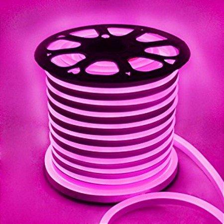 Mangueira Fita LED Neon Flexivel Luz Rosa - 07w por metro - 12v -  IP65 - Rolo com 50 Metros