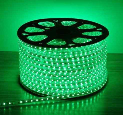 Mangueira LED Chata Rolo com 100m Verde 110v  - À prova d'água