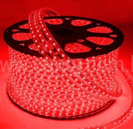 Mangueira LED Chata Rolo com 100m Vermelho 110v  - À prova d'água
