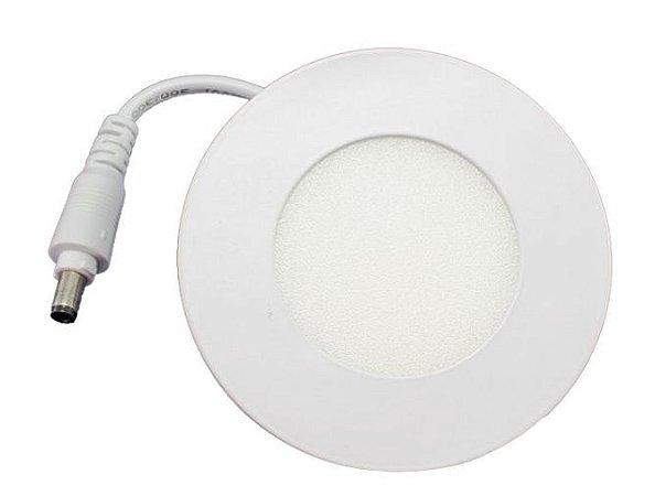 Luminária Plafon 03w LED Embutir Redonda Branco Quente 3000K
