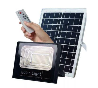 Refletor LED Solar 200W Branco Frio + Placa Solar + Controle Remoto