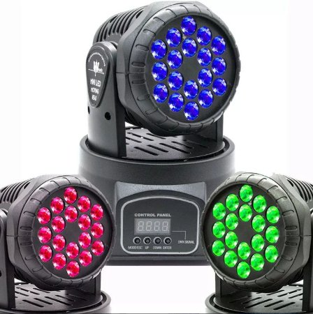 Mini Moving Head Wash 18 Quadrileds Rgbw Iluminação Dj
