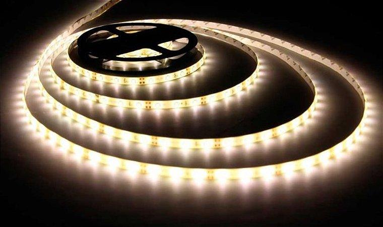 Fita LED - 3528 Branco Morno (4000k) - Rolo com 5 Metros - 24w - 120 LEDs por Metro - IP20 (sem Silicone) - 12V