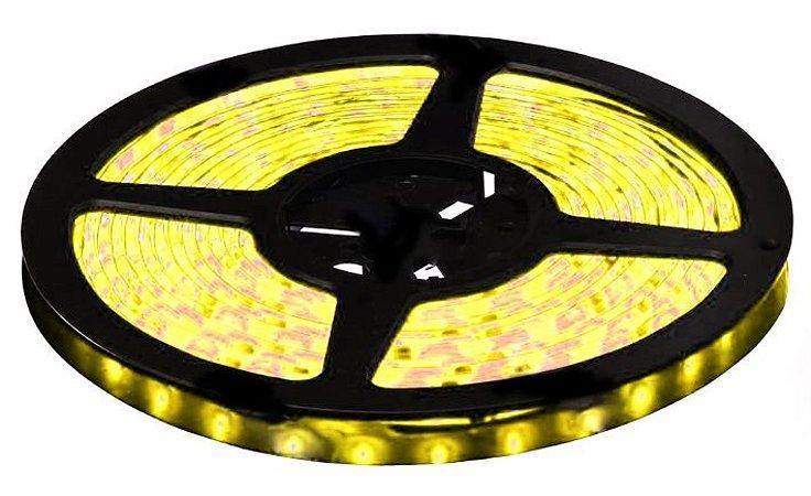 Fita LED - 3528 Amarela - Rolo com 5 Metros - 4,8w  - 60 LEDs por Metro - IP65 (com Silicone) - 12V
