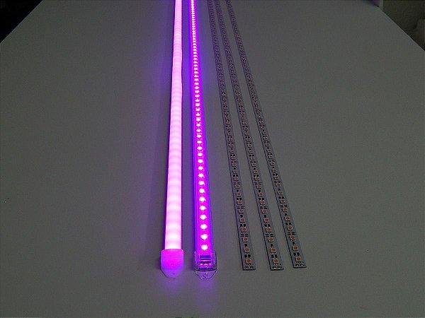 Barra de LED - 1 Metro - 18w - Rosa - 12v - 72 LEDs - Calha com Lente Transparente