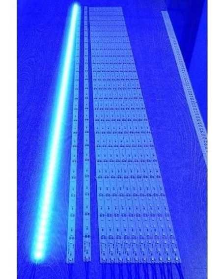 Barra de LED - 1 Metro - 18w - Azul - 12v - 72 LEDs - Calha com Lente Transparente